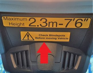 Decal - Check Blindspots before moving Vehicle- RNLI - VFS100-364