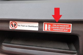 Decal - Fire Extinguisher Located Under Passenger Seat- VFS100-229
